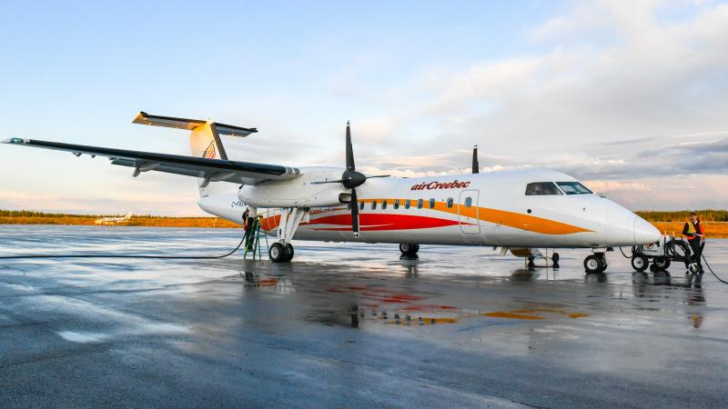 Air Creebec plane sitting on runway