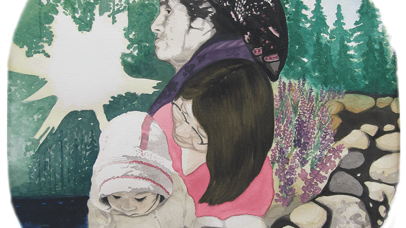 Painting by Natasia Mukash of three generations of women to represent breast cancer screening.