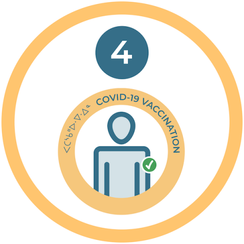Graphic showing COVID vaccination logo